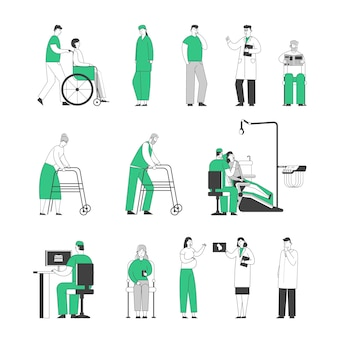 Satz von ärzten und patienten isoliert auf weißem hintergrund