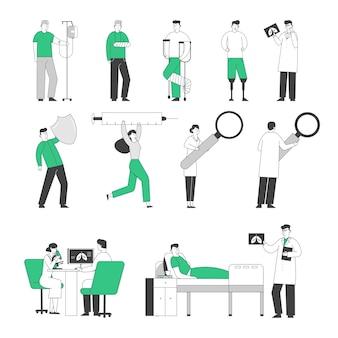 Satz von ärzten und patientencharakteren