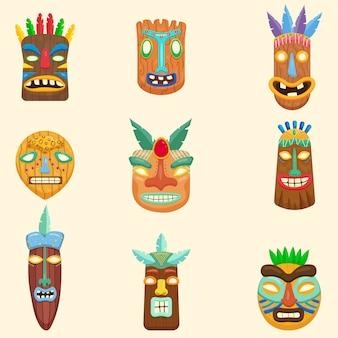 Satz von afrikanischen, zulu, mexikanischen, indischen, inka- oder aztekischen masken auf weißem hintergrund
