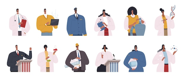 Satz von afroamerikanerprofis. wissenschaftler, ingenieure, ärzte, programmierer, politiker und piloten sind afroamerikaner. flache designkarikaturillustration lokalisiert auf weißem hintergrund.