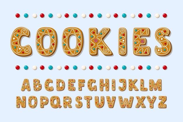 Satz von alphabetfeiertagen-lebkuchenplätzchen. weihnachten abc buchstaben schriftart.