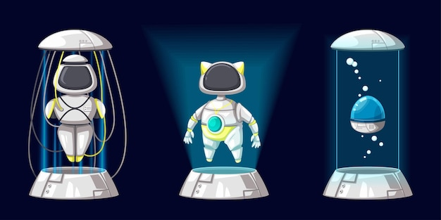 Satz von android-charakter-roboter-spielzeug-cartoon-stil futuristische maschine für den heimgebrauch. isolierte futuristische kybernetische objekte technologie isolierte illustration.