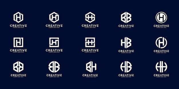 Satz von anfangsbuchstaben h, hb, bb und bh logo-designkonzept