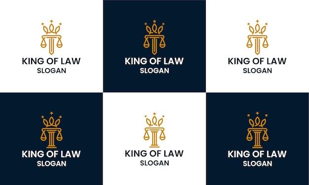 Satz von anwaltskanzlei, anwalt, säulenlogo-designschablone mit strichzeichnungen und kronenkonzept