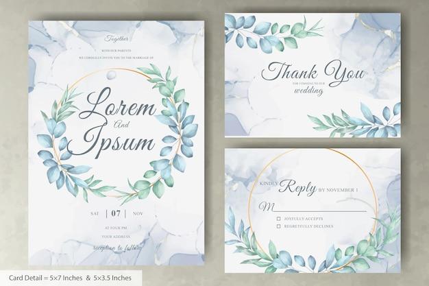 Satz von aquarell blumenkranz hochzeitseinladungskartenvorlage mit handgezeichneten blumen
