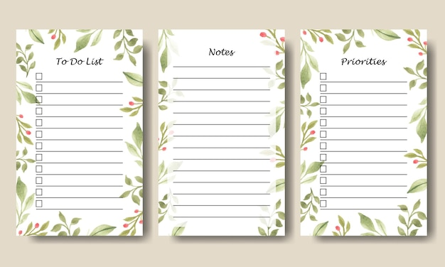 Satz von aquarell grünpflanzenblatt notizen to do list template design