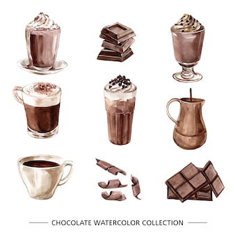 Satz von aquarell schokolade