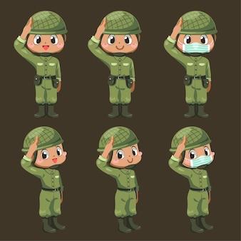 Satz von armeesoldatenmann in grüner uniform mit unterschiedsaktion und stehen am gruß in der zeichentrickfigur, isolierte flache illustration