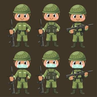 Satz von armeesoldatenmann in uniform, der gewehr mit unterschiedsaktion hält und am gruß in zeichentrickfigur, isolierte flache illustration steht