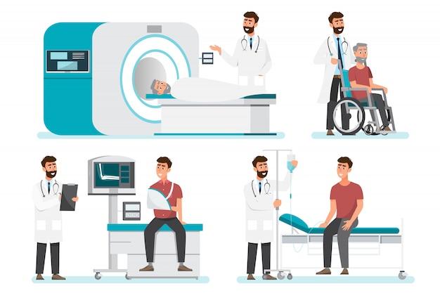 Satz von arzt comic-figuren. team des medizinischen personals im krankenhaus.