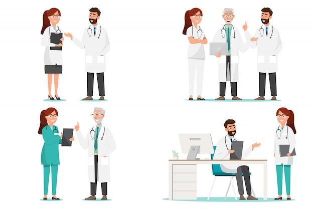 Satz von arzt comic-figuren. teamkonzept des medizinischen personals im krankenhaus.