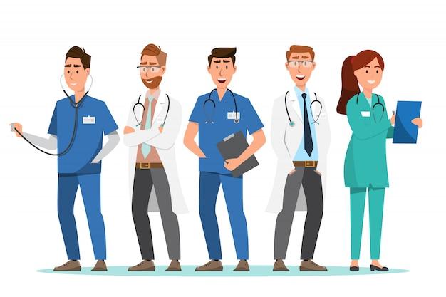 Satz von arzt und krankenschwester zeichentrickfiguren