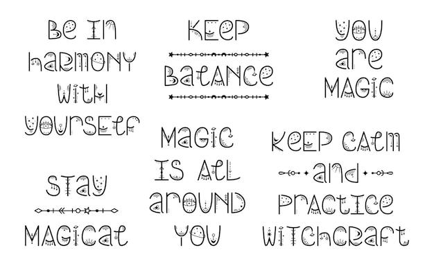 Satz von astrologischen mysterienphrasen. magische beschriftung