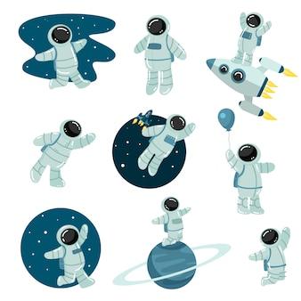 Satz von astronauten, die weltraumillustration entdecken