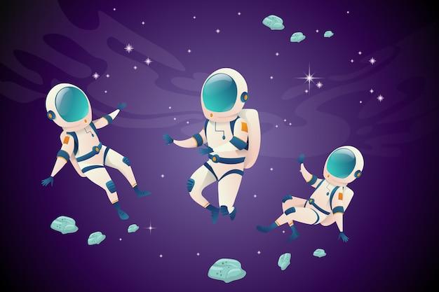 Satz von astronauten in verschiedenen positionen im offenen raum