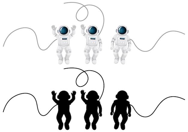 Satz von astronautencharakteren und seiner silhouette auf weiß