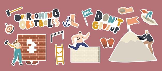 Satz von aufklebern, die hindernisse überwinden. charaktere auf der suche nach erfolg, klettern auf rock peak, springen über barrieren, hitting wall. führung, zielerreichung. cartoon-menschen-vektor-illustration