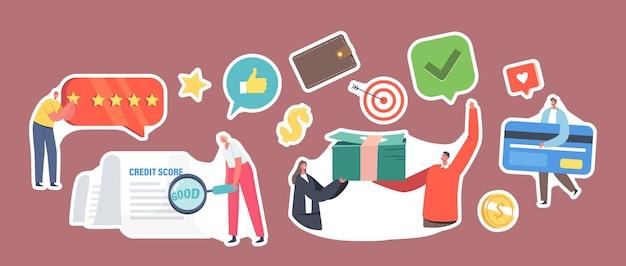 Satz von aufklebern gute kredit-score-darlehen-genehmigung-konzept. kreditwürdigkeit oder risiko von einzelpersonen für schuld-, hypotheken- und zahlungskarten. charaktere mit geld. cartoon-menschen-vektor-illustration
