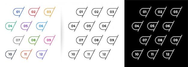 Satz von aufzählungszeichen mit einer bis zwölf linien