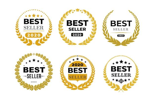 Satz von auszeichnungen bestseller-abzeichen-logo. goldene bestsellerillustration. auf weißem hintergrund isoliert.