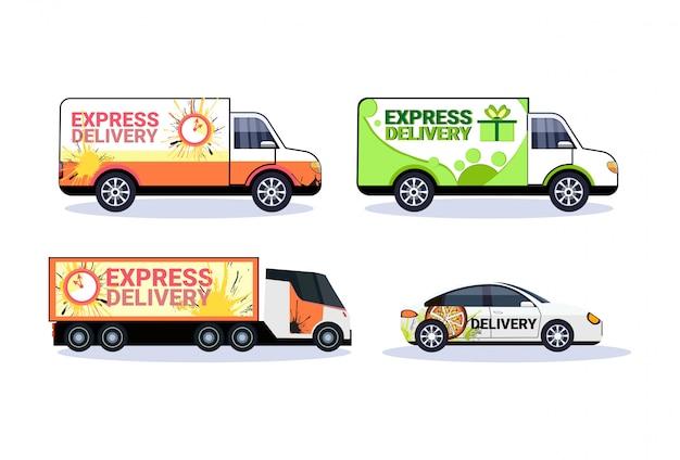 Satz von autos lieferung transport paket pakete sammlung transport versand industriekonzept