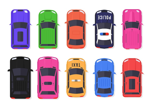 Satz von autos und lastwagen draufsicht im flachen stil. fahrzeuge fahren in der stadt und service transport. realistisches autodesign isoliert.