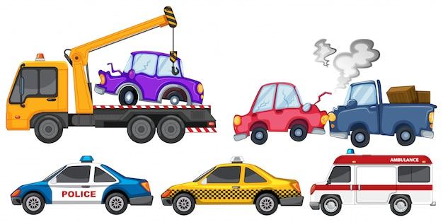 Satz von autounfall und polizeiwagen