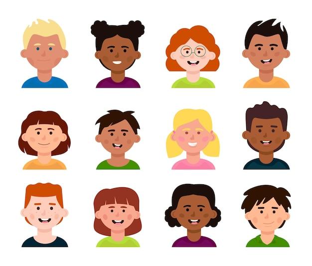 Satz von avataren verschiedener kinder