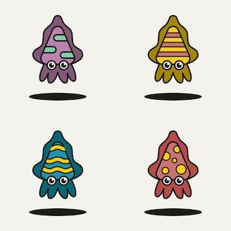 Satz von baby-tintenfisch-cartoon-charakter-vorlage-vektor-illustration-design