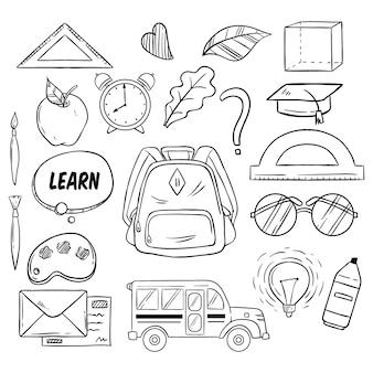 Satz von back to school-elementen mit handgezeichnetem oder gekritzeltem stil