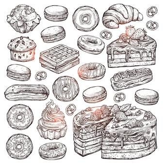 Satz von backwaren und süßigkeiten