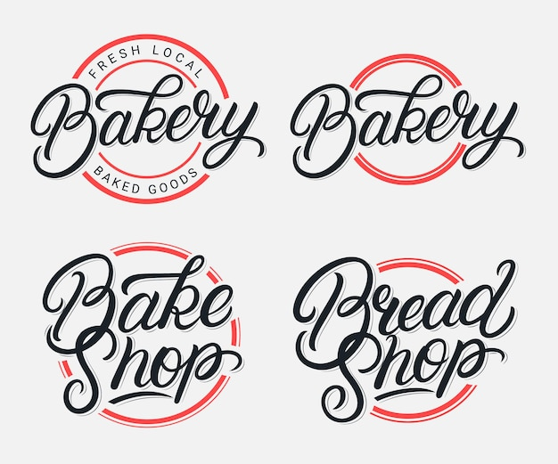 Satz von bäckerei, bake shop und bread shop handgeschriebenes schriftzug-logo. moderne kalligraphie. vintage-stil.