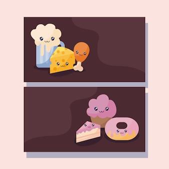 Satz von bäckerei gebäck kawaii charakter