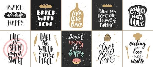 Satz von bäckerei schriftzug poster