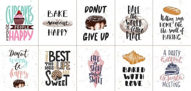 Satz von bäckerei und süßes essen schriftzug