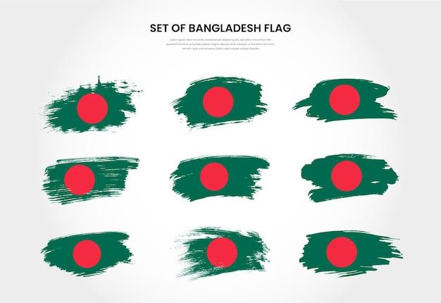 Satz von bangladesch-landgrunge-bürstenstrichflaggensammlung