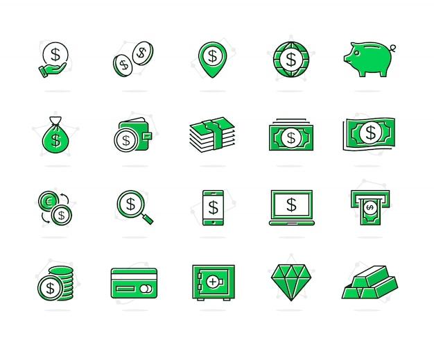 Satz von bank und geld farbige linie symbole. münzen, bargeld, karten, kredite und mehr.