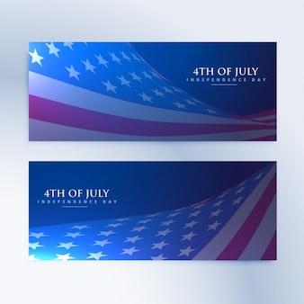 Satz von banner mit amerikanischer flagge