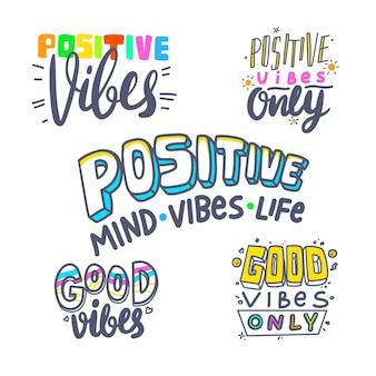 Satz von banner positive vibes theme, bunte typografie oder schriftzug, t-shirt print, graphic design elements collection. motivationssymbol, ambitioniertes zitat, gute laune-wunsch-emblem. vektorillustration