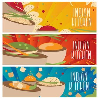 Satz von bannern für thematische indische küche mit unterschiedlichem geschmack flaches design. illustration