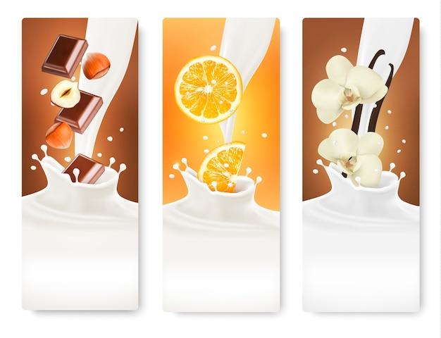 Satz von bannern mit haselnüssen, schokolade, orangen und vanille, die in milchspritzer fallen.