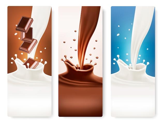 Satz von bannern mit schokoladen- und milchspritzern.