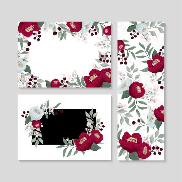 Satz von bannern mit zarten musterblumen.