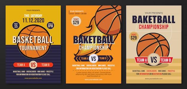 Satz von basketball turnier flyer vorlage
