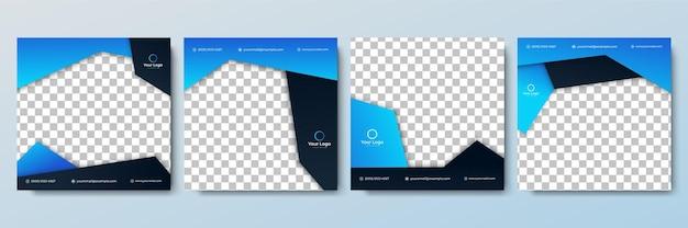Satz von bearbeitbaren minimalen quadratischen banner-vorlagen schwarze und blaue hintergrundfarbe