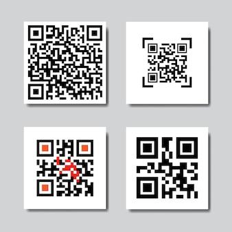 Satz von beispiel-qr-codes für smartphone-scansymbole