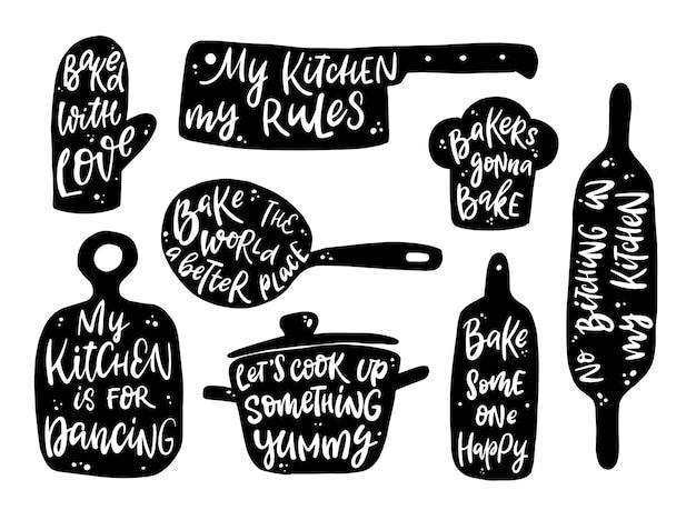 Satz von beschriftungszitaten für küche und kochen