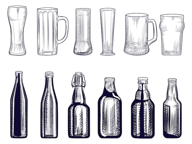 Satz von bierflaschen und becher. verschiedene biergläser. gravur-stil.