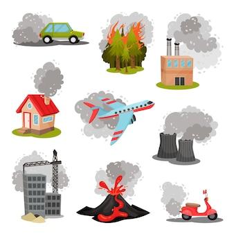 Satz von bildern von luftverschmutzungsquellen