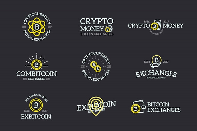 Satz von bitcoin- und kryptowährungsbezeichnungen
